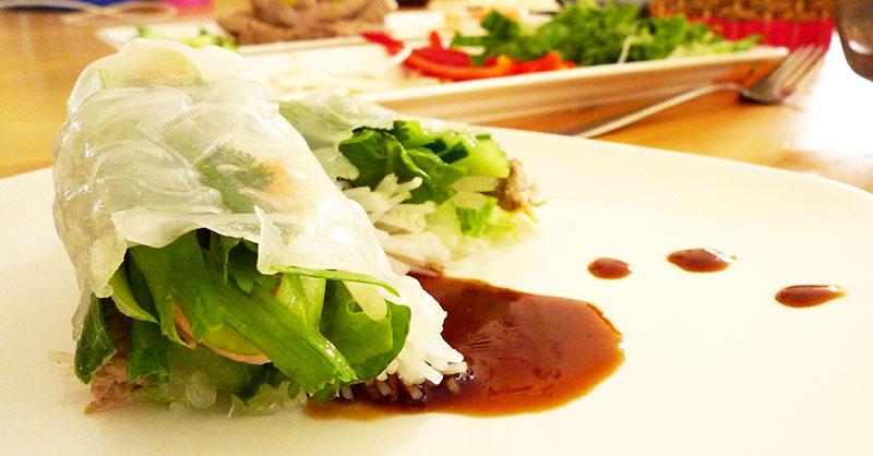 Vietnamese spring rolls - with homemade hoisin sauce